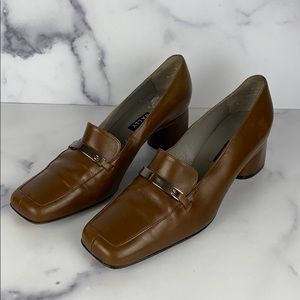 BALLY square toe loafers brown leather size 7.5